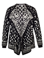 Chesca Black Ivory Jacquard Knitted Cardigan