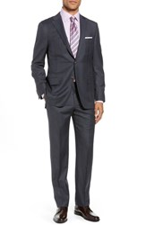 Hickey Freeman Big And Tall Classic Fit Plaid Wool Suit Blue