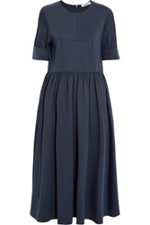 Jil Sander Cotton Blend Jersey Midi Dress Navy