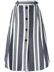 Sportmax Striped Buttoned A Line Skirt White