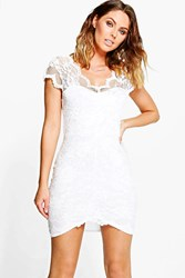 Boohoo Scallop Lace Bodycon Dress Ivory