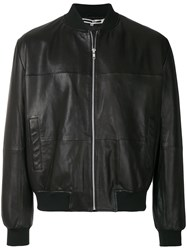 Mcq By Alexander Mcqueen Leather Bomber Jacket Black