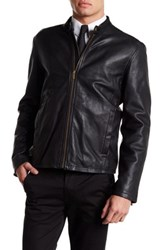 Cole Haan Smooth Genuine Leather Classic Moto Jacket Black