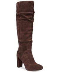 Nine West Shiryl Slouch Dress Boots Women's Shoes Brown Suede