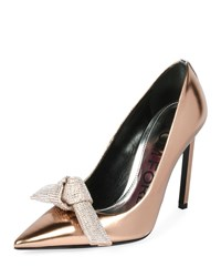 Tom Ford Mirrored Metallic Pump With Crystal Bow Rose Gold