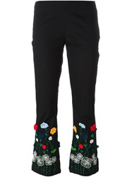 Vivetta Embroidered Floral Cropped Trousers Black