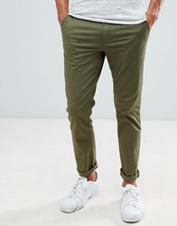 Selected Homme Chinos In Straight Fit Olive Night Green