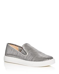 Vince Camuto Becker Metallic Embossed Slip On Sneakers Pewter