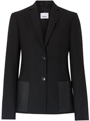 Burberry Leather Detail Tailored Jacket Black
