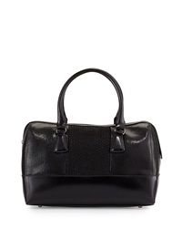 Charles Jourdan Mesi Embossed Leather Calf Hair Satchel Bag Black