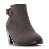 Head Over Heels Priyanka Buckle Block Heel Ankle Boots Grey