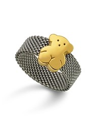 Tous Bear Mesh Ring Silver