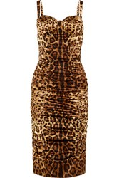 Dolce And Gabbana Ruched Leopard Print Stretch Silk Satin Midi Dress Leopard Print