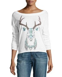 Chaser Painted Deer Graphic Long Sleeve Top White