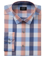 Alfani Men's Classic Regular Fit Stretch Large Gingham Pattern Dress Shirt Created For Macy's Peach Blue