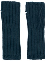 Holland And Holland Cashmere Knitted Mittens Blue