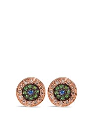 Ileana Makri Diamond Sapphire Tsavorite And Pink Gold Earrings Yellow Gold