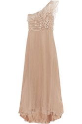 Valentino Ruffled Tulle Gown Brown