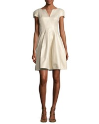 Cap Sleeve Metallic Structured Faille Dress Pale Gold