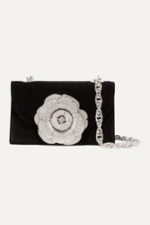 Oscar De La Renta Tro Crystal Embellished Velvet Shoulder Bag Black