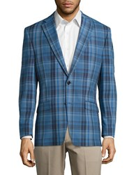 Lauren Ralph Lauren Cotton Plaid Blazer Sky Blue