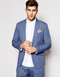 Antony Morato Casual Cotton Suit Jacket With Floral Pocket Square In Slim Fit Blue7023