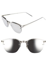 Linda Farrow Women's 55Mm Round Sunglasses White Gold Platinum White Gold Platinum