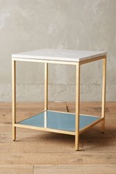 Anthropologie Lindley Marbled Side Table White Blue