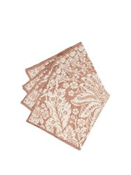 D'ascoli Set Of Four Garden Floral Print Cotton Napkins Brown Multi