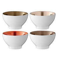 Lsa International Polka Assorted Bowls Set Of 4 Metallic