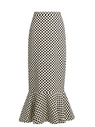 Saloni Portia Polka Dot Print Double Crepe Skirt Black White