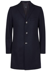 J. Lindeberg Wolger Navy Wool Blend Felt Coat