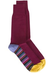 Paul Smith Striped Detail Socks Pink And Purple
