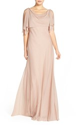 Women's Jenny Yoo 'Devon' Glitter Knit Gown With Detachable Capelet