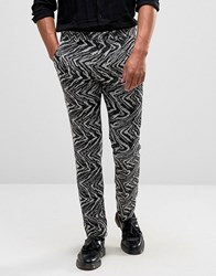 Asos Super Skinny Smart Trouser In Black And White Textured Fabric Black