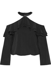 Alice Olivia Layla Ruffled Satin Trimmed Silk Blend Blouse Black