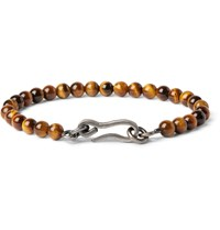 Bottega Veneta Burnished Silver And Tiger's Eye Bead Bracelet Brown