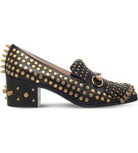 Gucci Polly Studded Leather Loafers Black