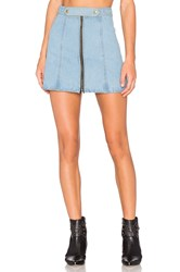 Understated Leather X Revolve High Waist Zip Skirt Sky Blue And Acid Wash