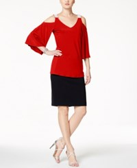 Msk Rhinestone Cold Shoulder Top Red
