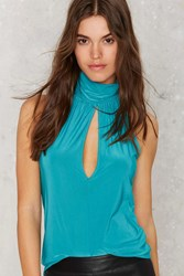 Nasty Gal Neck And Neck Tank Blouse Aqua