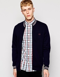 Fred Perry Cardigan With Zip Through Blue