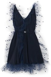 Alexis Mabille Crystal Embellished Belted Voile Trimmed Crepe Mini Dress Navy