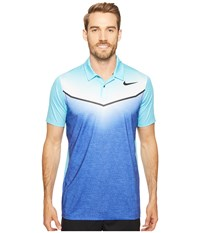 Nike Mobility Fade Polo Paramount Blue Vivid Sky Anthracite Black Men's Short Sleeve Pullover