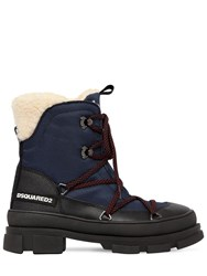 Dsquared 40Mm Faux Leather And Denim Hiking Boots Blue
