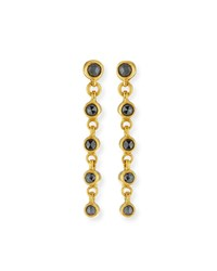 Gurhan 24K Delicate Black Diamond Linear Drop Earrings
