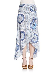Calypso St. Barth Durna Printed Silk A Line Skirt Blue Multi