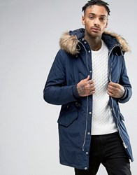 Pull And Bear Pullandbear Parka With Faux Fur Hood In Navy Navy Blue