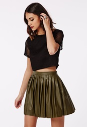 Missguided Livia Faux Leather Pleated Skater Skirt Khaki