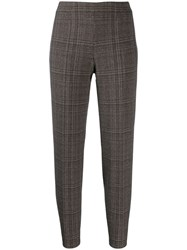 Piazza Sempione Plaid Slim Fit Trousers Brown